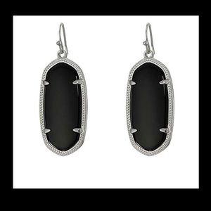 Kendra Scott Elle Silver & Black Drop Earrings NWT